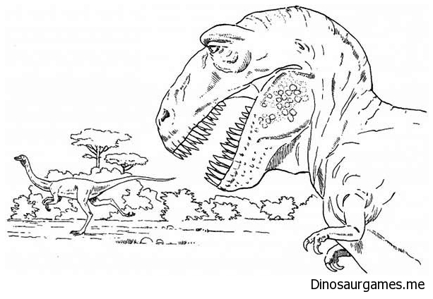T Rex Is Going Hunting Coloring Page