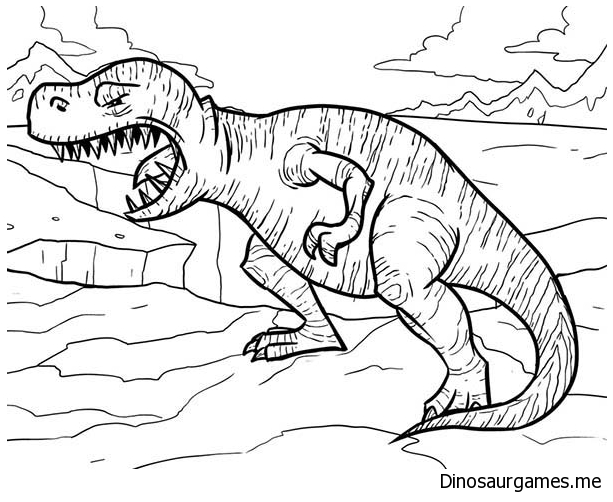 T Rex Opening His Mouth Wide Coloring Page