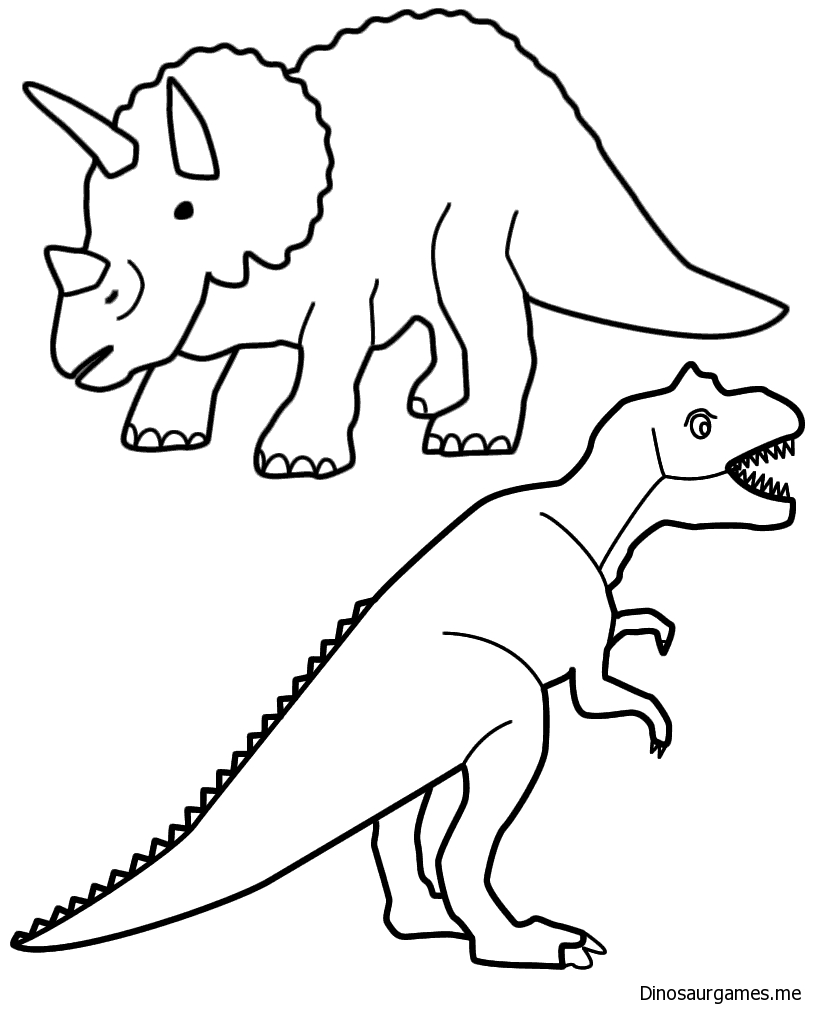 Triceratops and T Rex Coloring Page