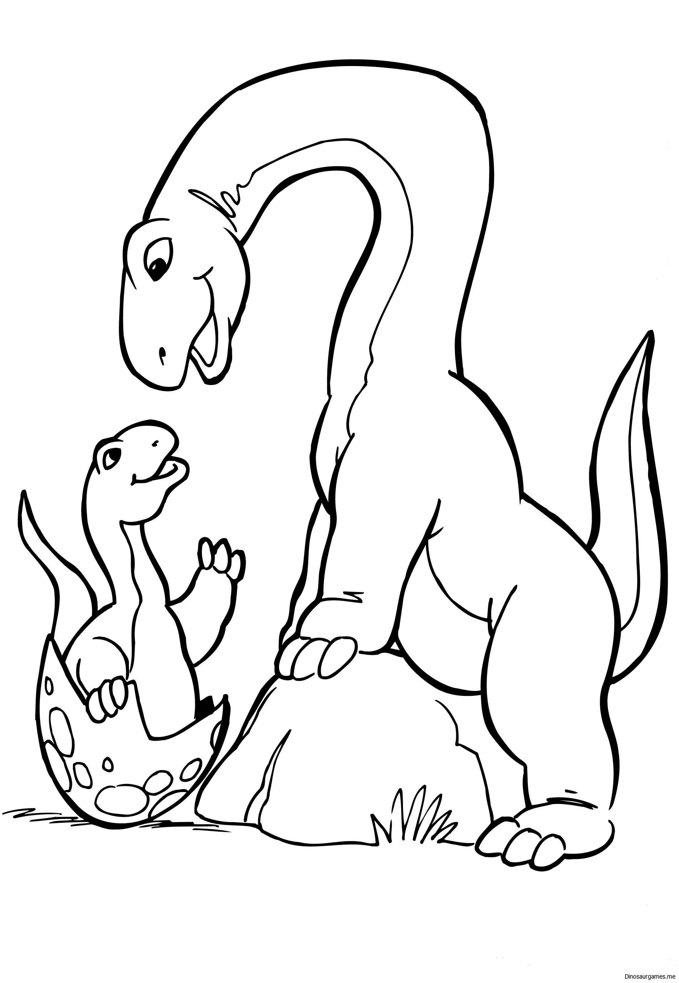 Baby Hatching Dinosaur Coloring Page
