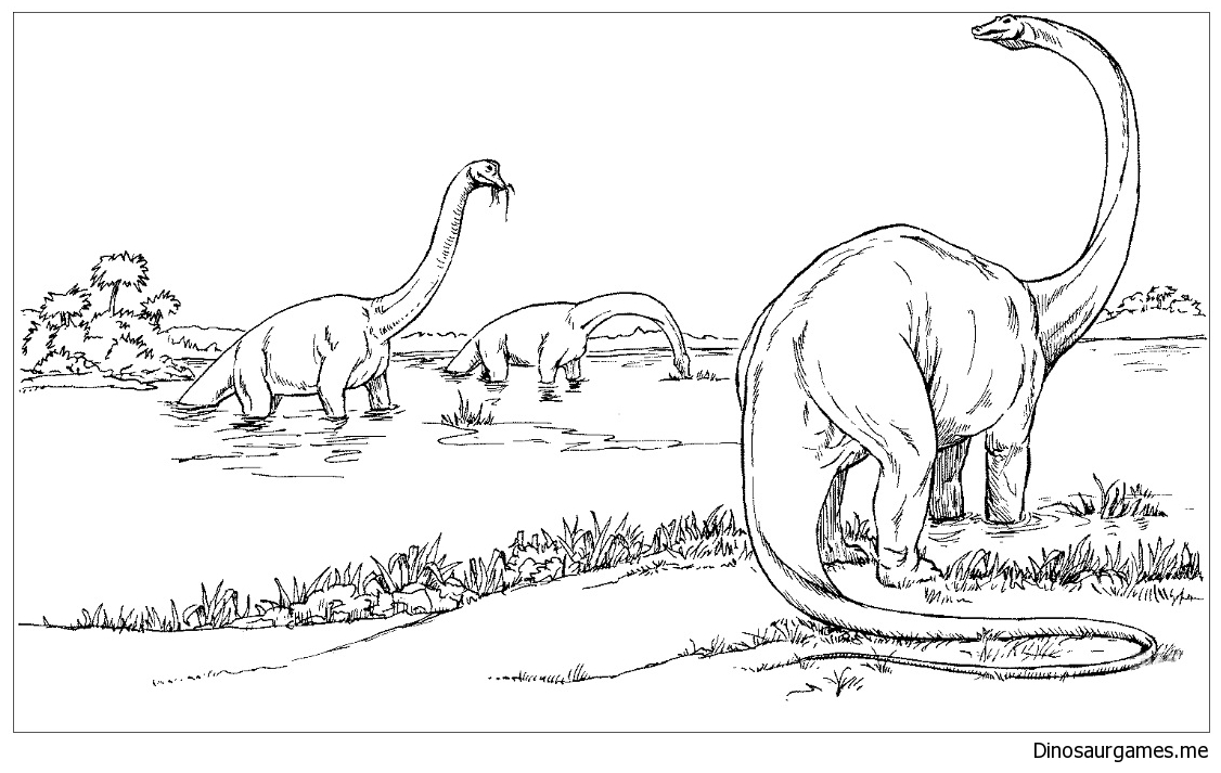 Brachiosauruses In The Lake Coloring Page