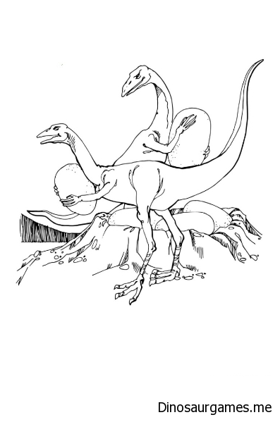 Oviraptors Stealing Dinosaurs Egg Coloring Page