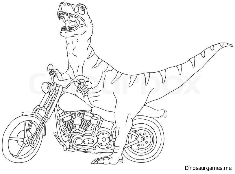 Vector Big T Rex on Motorbike Coloring Page