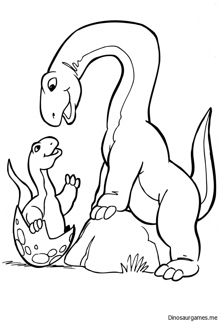 Brachiosaurus Family Coloring Page