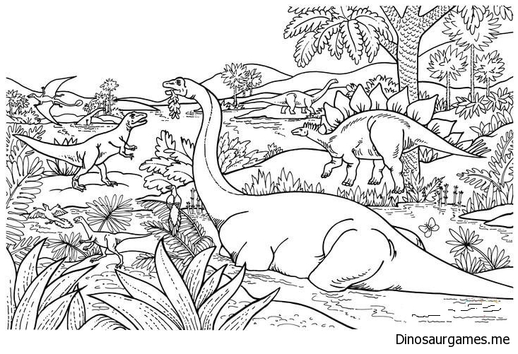 Dinosaur Populations Coloring Page
