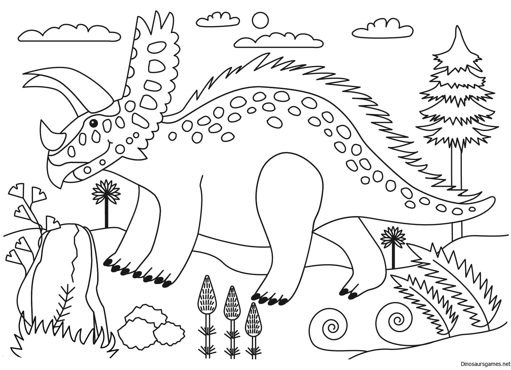 Pentaceratops Dinosaur Coloring Page