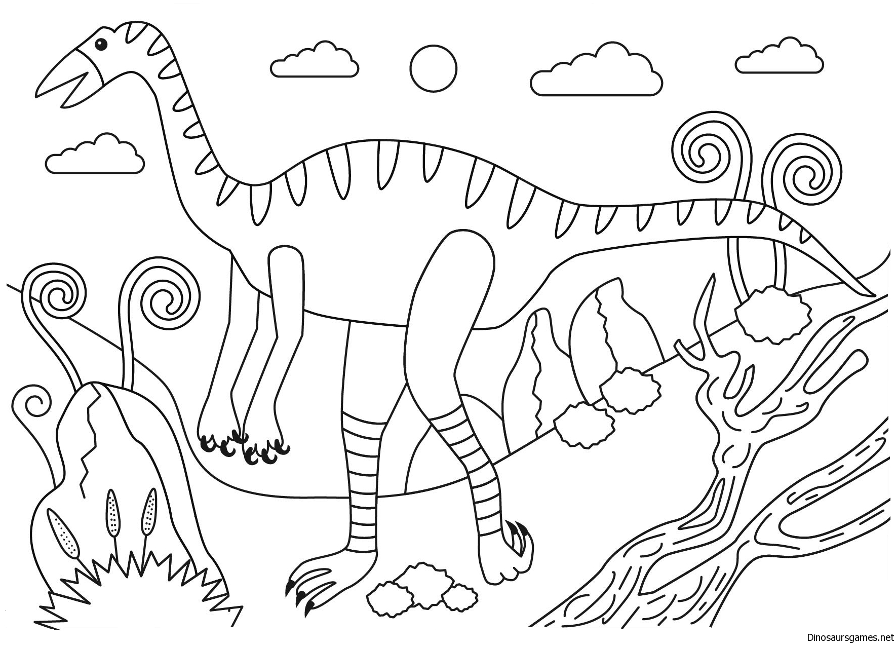 Struthiomimus dinosaur coloring page