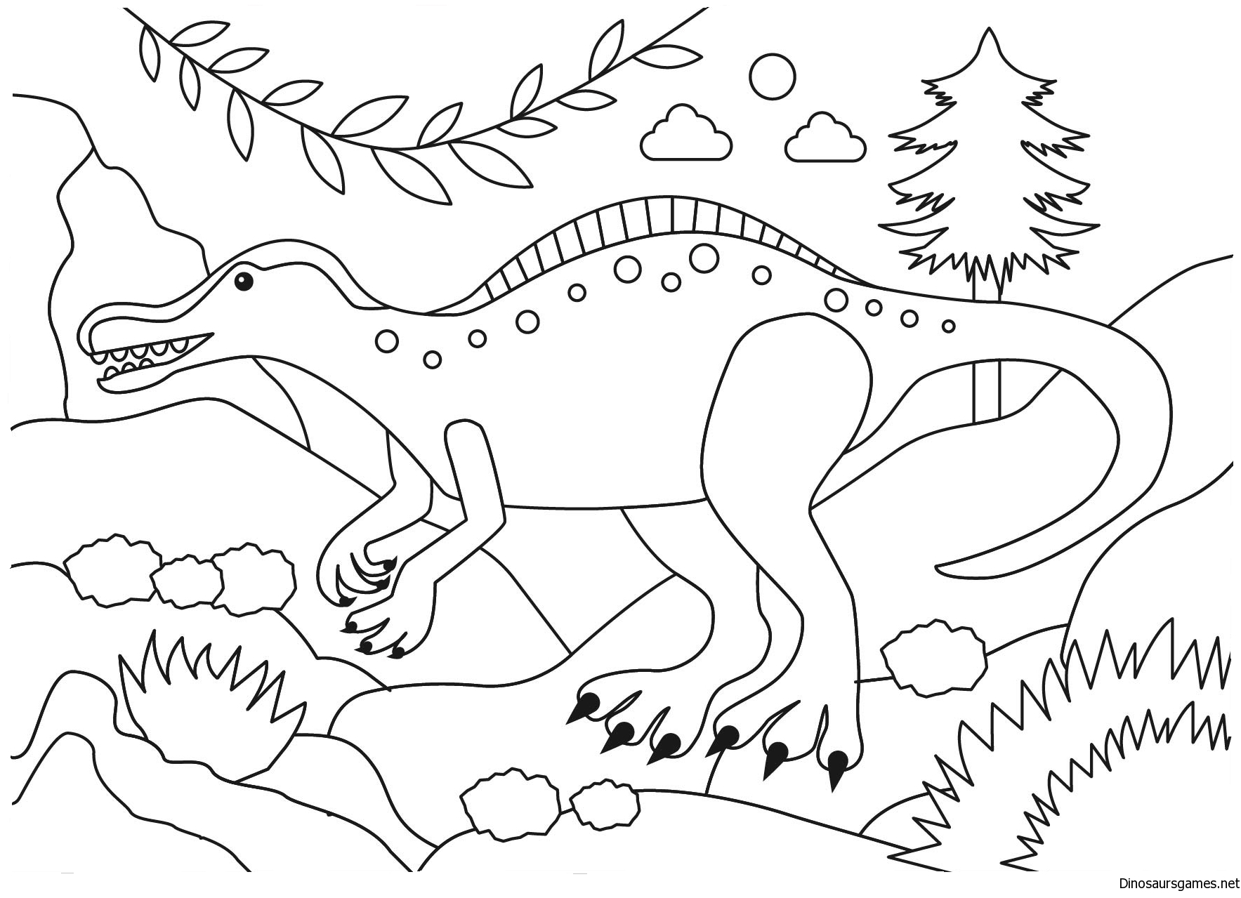 Suchomimus Dinosaur Coloring Page
