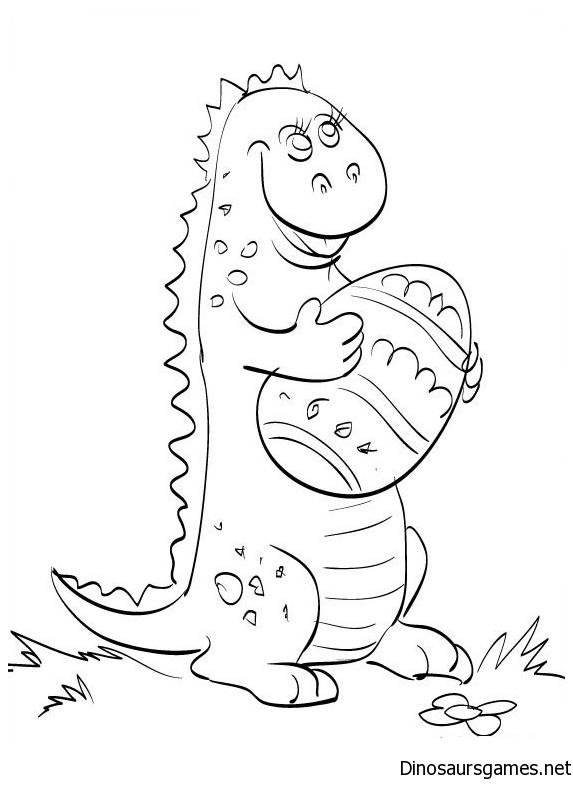 Dinosaur with Easter egg coloring page