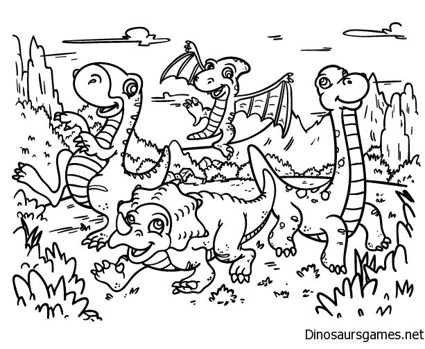 Cartoon Dinosaur Coloring Page