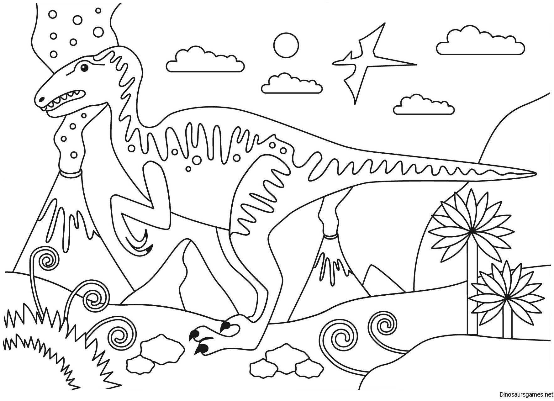 Velociraptor Dinosaur Coloring Page