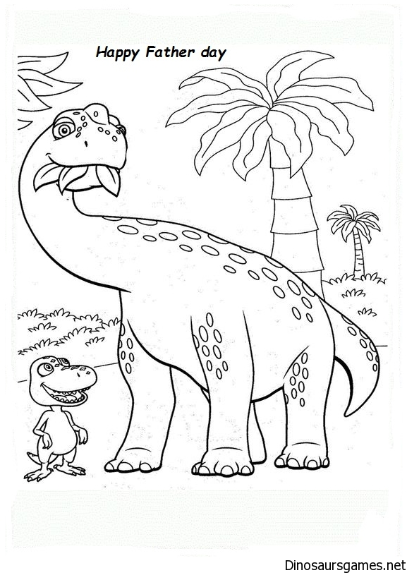 Father day dinosaur coloring page