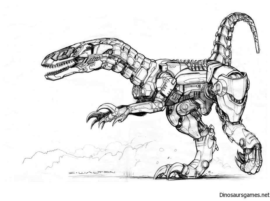 Drawn Dinosaur Robot Coloring Page