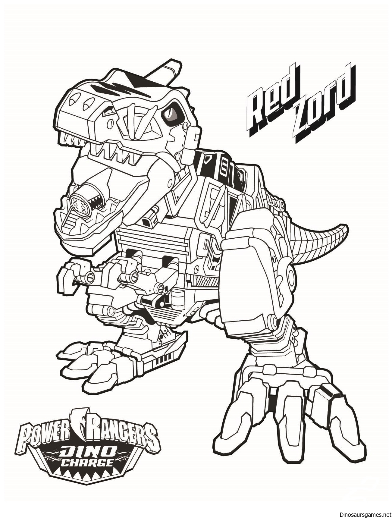Robot Dinosaur 4 Coloring Page
