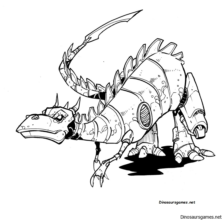Robot Dino Coloring Page