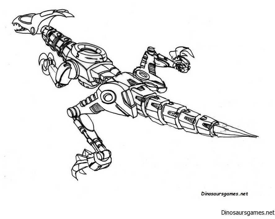 Dino Robot 2 Coloring Page