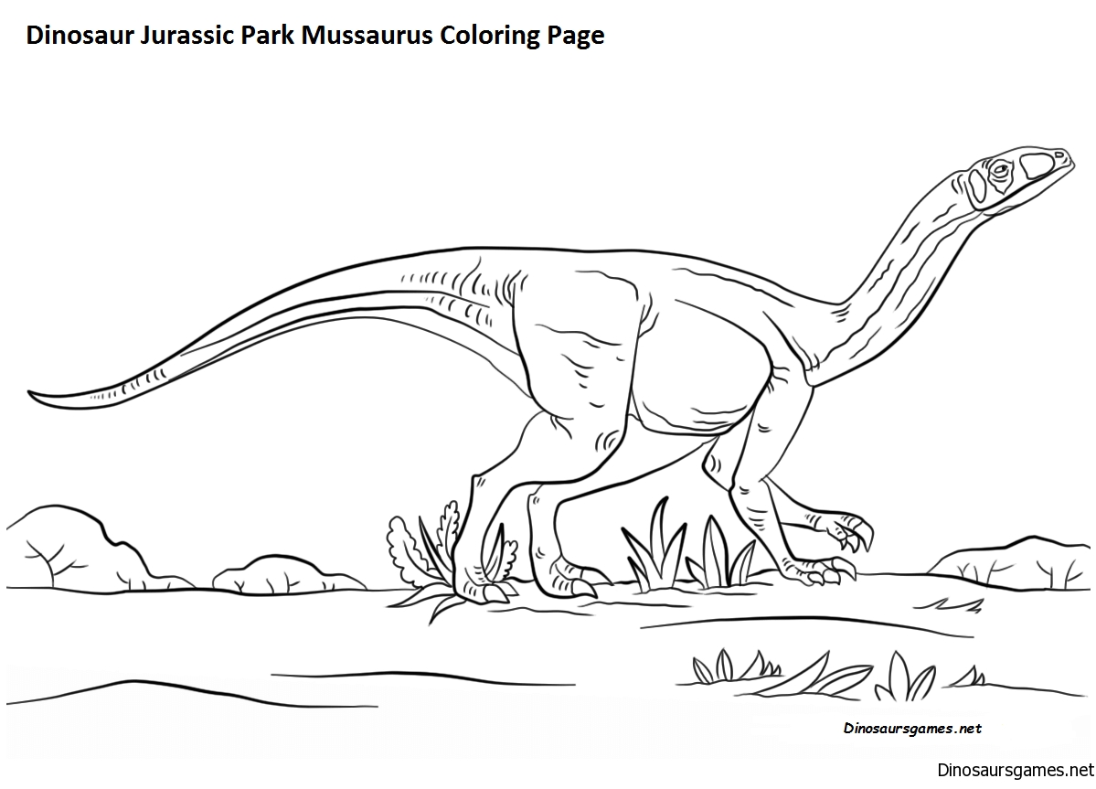 Dinosaur Jurassic Park Mussaurus Coloring Page
