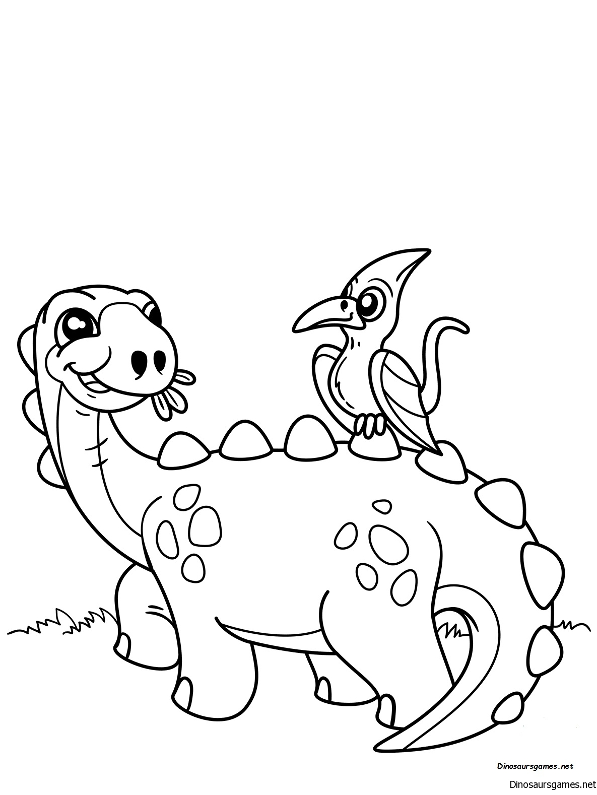 Cute Dinosaur with Pteranodon Coloring Page