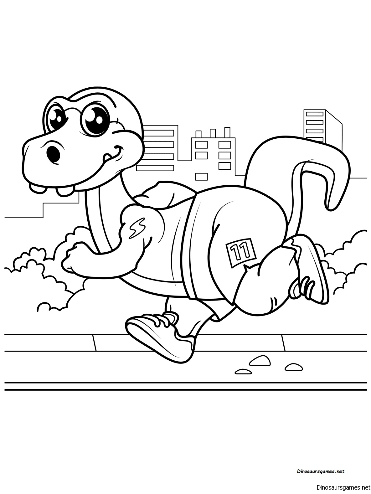 Cute Dinosaur Runner Coloring Page