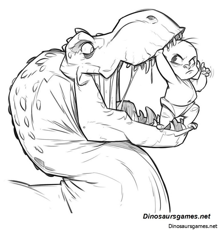 Dinosaur Cartoon 2 Coloring Page