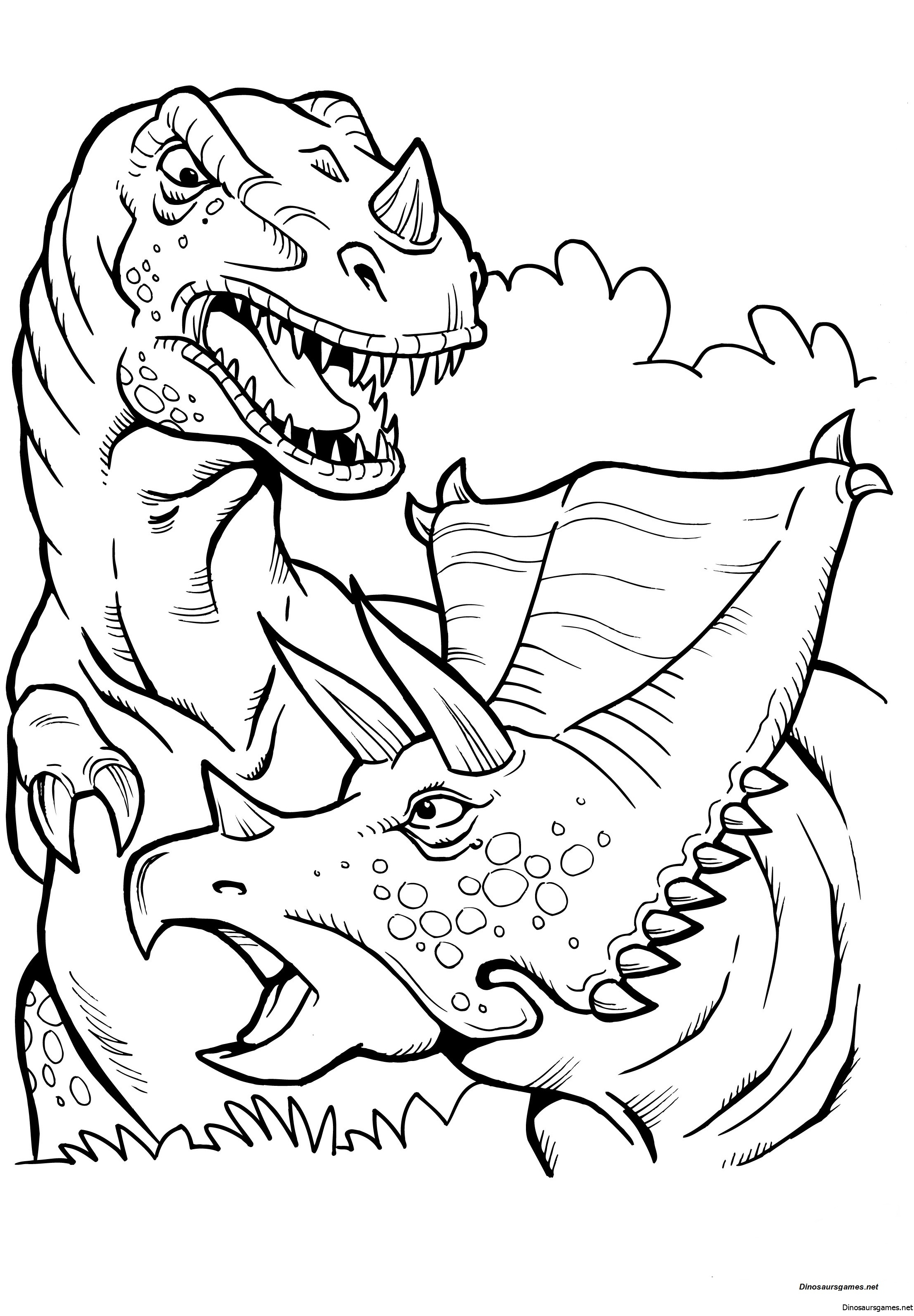 Battle T Rex Coloring Page