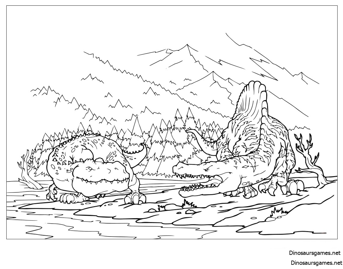 Tyrannosaurus against Spinosaurus Coloring Page