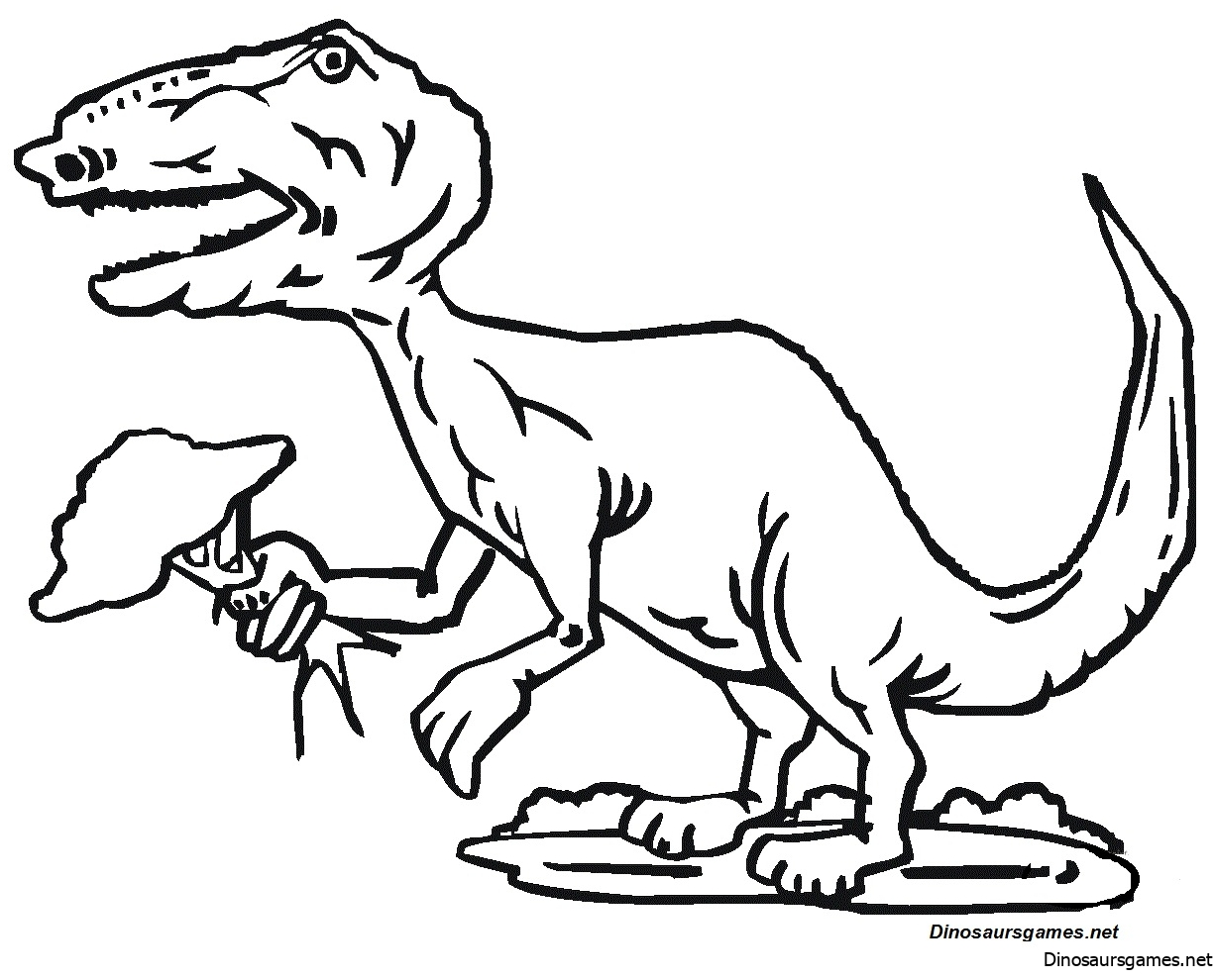 Tyrannosaurus Holds Tree Coloring Page
