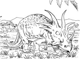 Dinosaur Styracosaurus and Triceratops Coloring Page Game