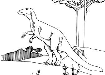 Dinosaur Camptosaurus Ornithischian Coloring Page Game