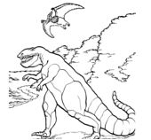 Dinosaur Tarbosaurus and Pteranodon Coloring Page Game