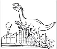 Dinosaur Tyrannosaurus Destroys City Coloring Page Game