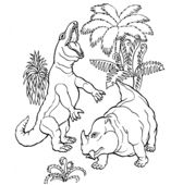 Dinosaur T.Rex and Dicynodont Coloring Page Game