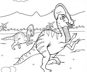 Dinosaur Corythosaurus 2 Coloring Page Game