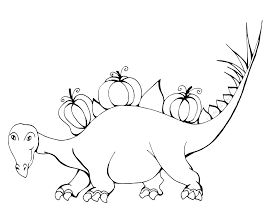 Dinosaur Halloween Coloring Page Game