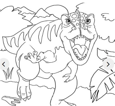 The Dino Says Hello Coloring Page Game