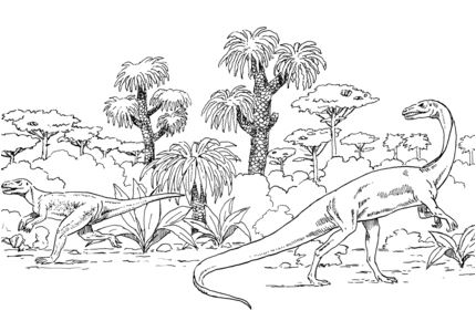 Euparkeria and Coelophysis Coloring Page Game