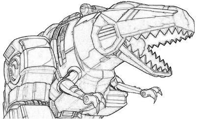 Dino Robot Coloring Page Game