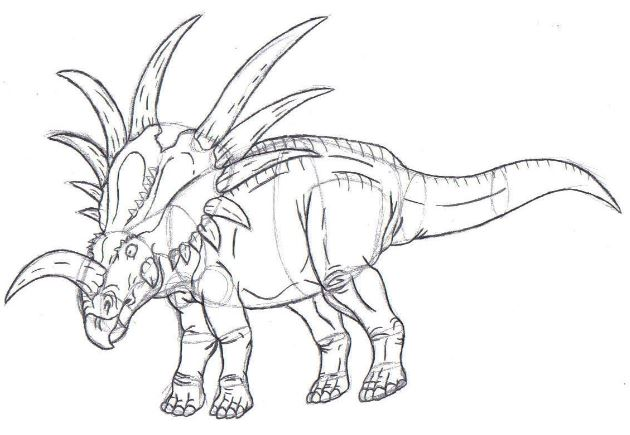 Styracosaurus Sketch Coloring Page Game