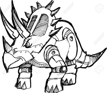 Robot Dinosaur 3 Coloring Page Game