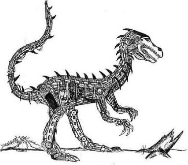 Cyborg Raptor Coloring Page Game