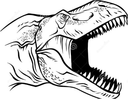 Rex Head Clipart Black and White Coloring Page Game