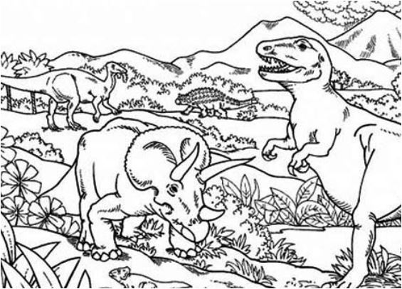 Triceratops Attacking T Rex Coloring Page Game