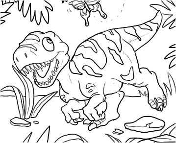 Baby Dinosaur 3 Coloring Page