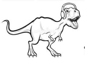 Dinosaurs Listen To Music Coloring Page