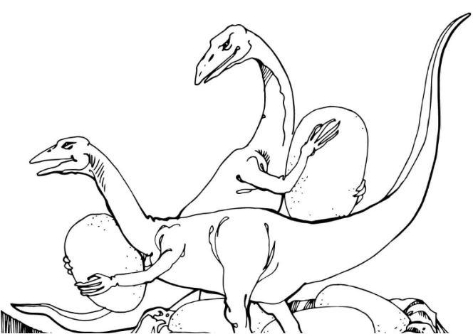 Oviraptors Stealing Dinosaurs Egg Coloring Page Game