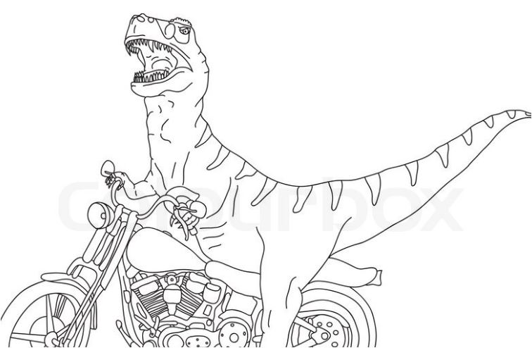 Vector Big T Rex on Motobike Coloring Page Game