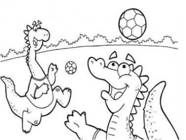 The Dinosaurs Playing Football Coloring Page
