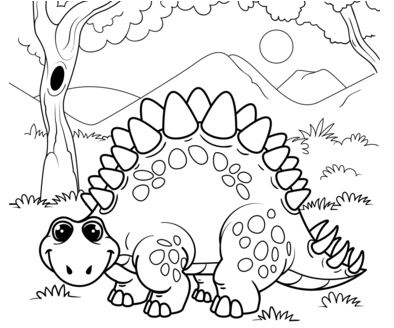 Cute Stegosaurus Coloring Page Game