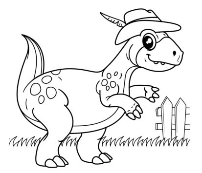 Dinosaur Wearing Cowboy Hat coloring page