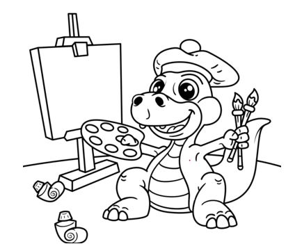 Cute Dinosaur Artist with Easel, Brush and Palette of Colors Coloring Page Game